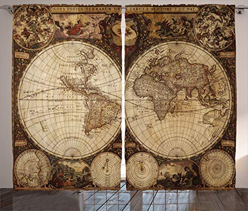 Ambesonne Wanderlust Decor Curtains by, Old World Map Drawn in 1720s Nostalgic Style Art Historical Atlas Vintage Design, Living Room Bedroom Decor, 2 Panel Set, 108 W X 84 L Inches ()