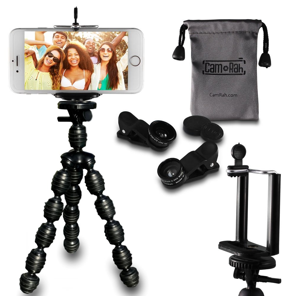 CamRah | Cell Phone Smartphone Tripod and 3 Universal Lens Kit | Includes Fisheye, Wide Angle, and Macro Lenses | 2 Extra Lens Clips | Bonus Octopus Tripod and Photo Tips | Comes with Storage Bag by Cam Rah (Image #1)
