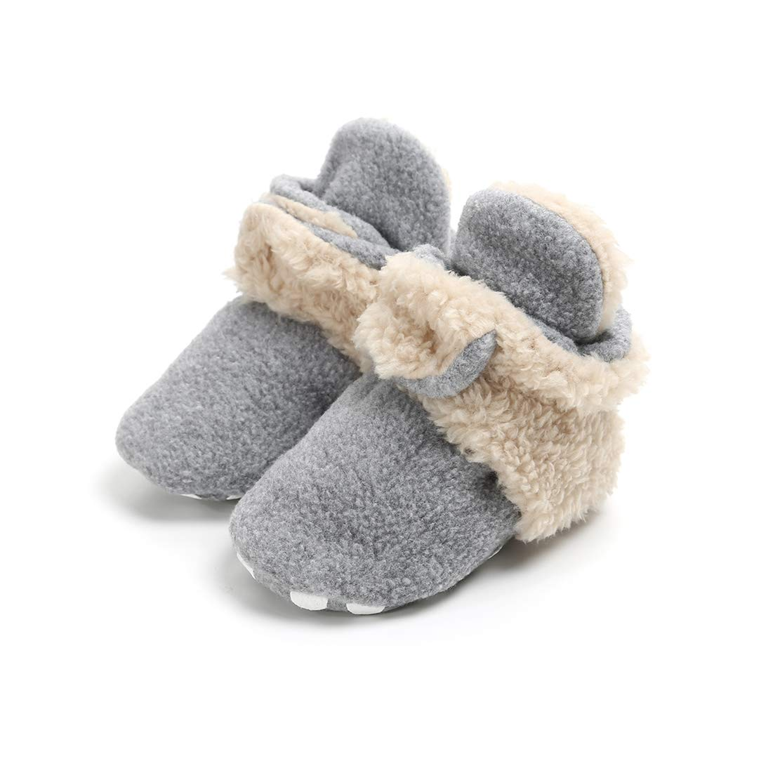 AUPUMI Unisex-Baby Newborn Cozie Fleece Booties with Non Skid Bottom Infant Winter Shoes