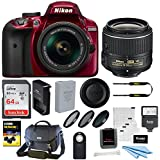 Nikon D3400 DSLR Camera (Red) with 18-55mm Lens + 64GB Card + Nikon Case + Flash + Filters and Bundle