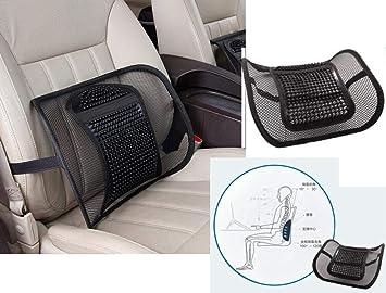 Amazon.com: Cojín de apoyo lumbar de coche con malla ...