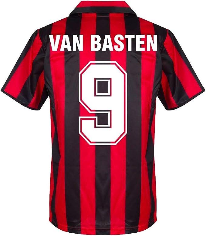 stampa flock retrò Score Draw AC Milan Home Van Basten 9 Retro ...