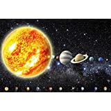 Poster Solar System Planets Mural Decoration Galaxy Cosmos Space Universe All Sky Stars Galaxy Universe Earth | Wallposter Photoposter wall mural wall decor by GREAT ART (55 x 39.4 Inch/ 140 x 100 cm)
