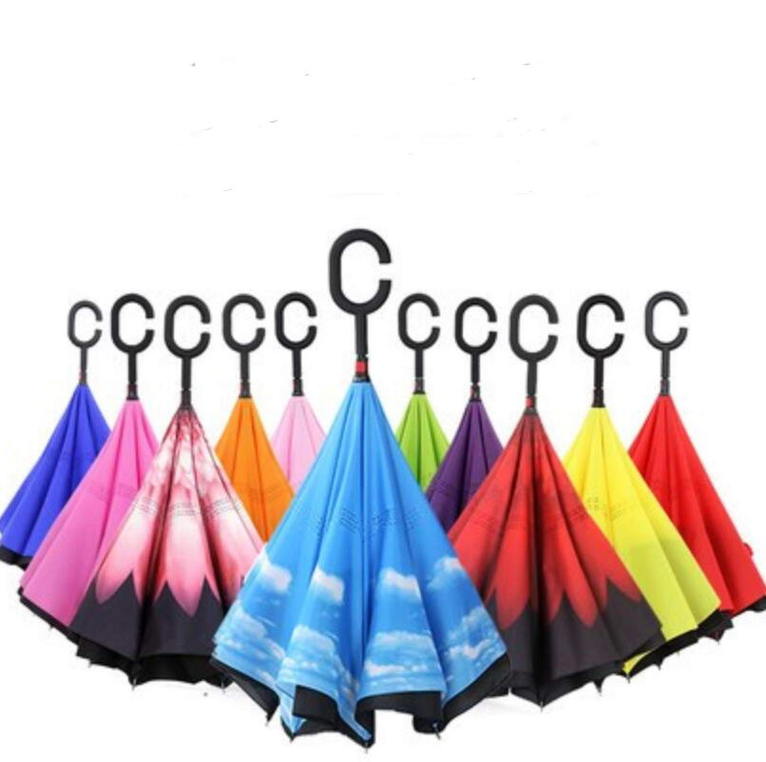 Double Layer Reverse Umbrellas Self Stand Inside Out Rain Protection Umbrella With C Hook Hands