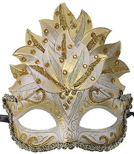 Burger Queen Costume - Hagora, Women's Inner Queen Style Royal Tones Unique Crown Design Sparkly Mask,White and Gold One Size fits Most