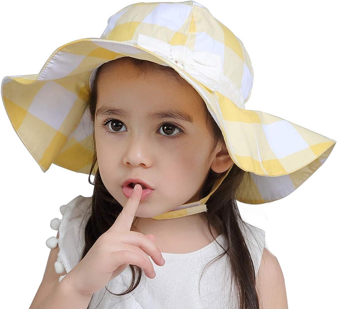 Luzlen Baby Girl Sun Hat Beach Wide Brim UPF 50 Protection Floppy Summer Toddler Play Bucket Cap with Chin Strap