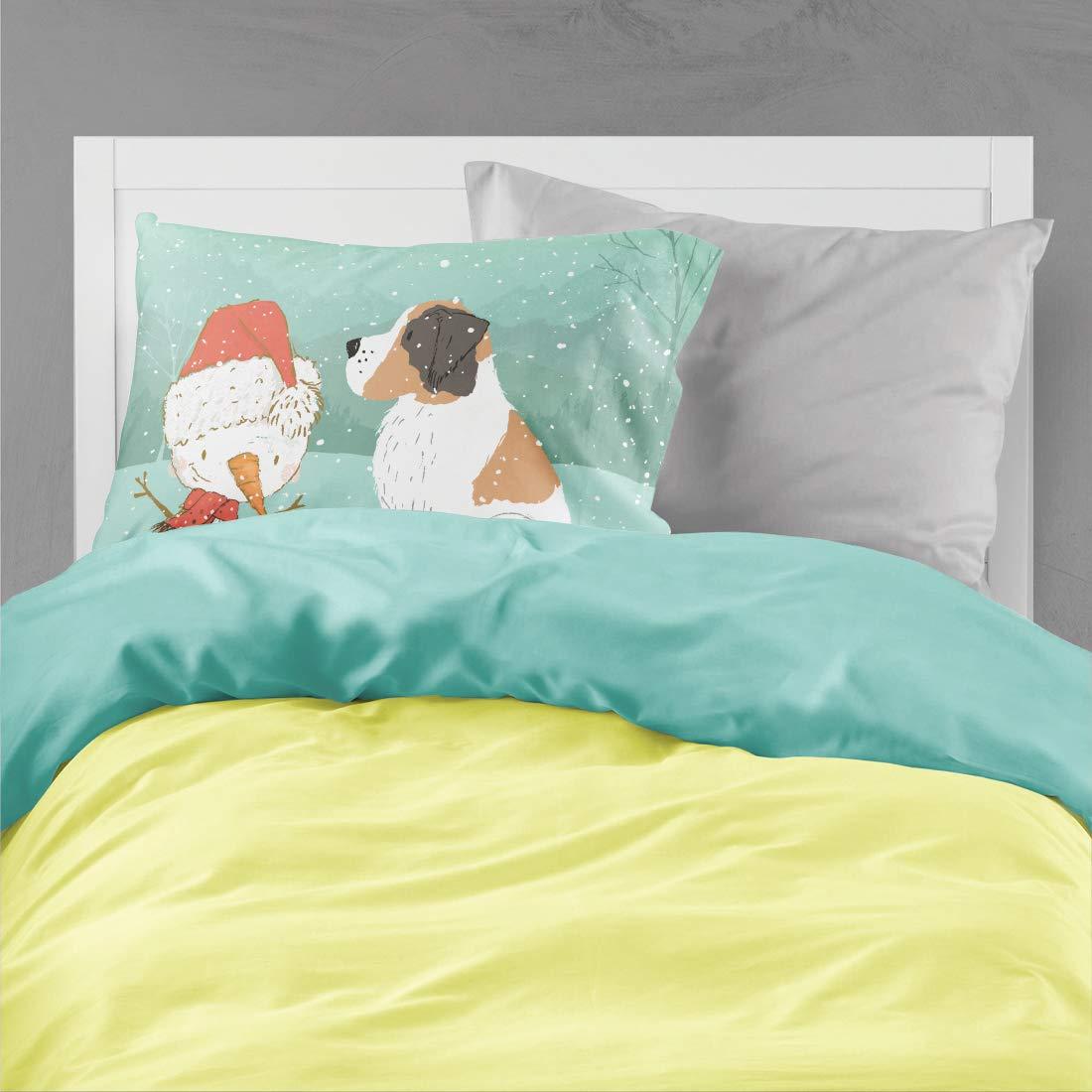 Carolines Treasures Black Greyhound Snowman Christmas Fabric Standard Pillowcase,