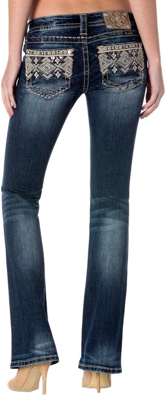 Miss Me Womens Bead Embellished Mid Rise Boot Cut Denim Jean