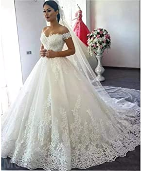 Princess Women S Off Shoulder Lace Wedding Dresses For Bride 2020 Wedding Gowns Court Train Bridal Gowns Ivory 0 At Amazon Women S Clothing Store