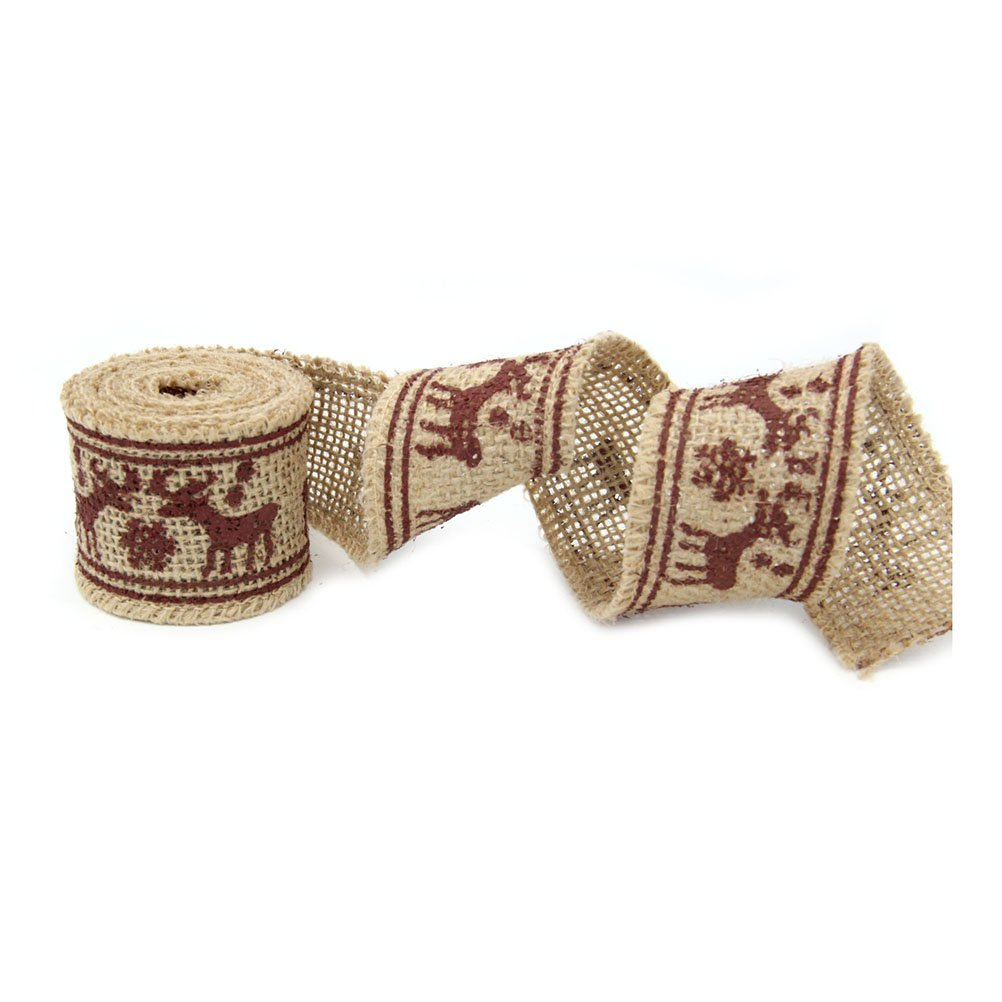 Pixnor 2M 4CM Elk estilo arpillera arte cinta para la decoració n de Navidad boda bricolaje manualidades hogar