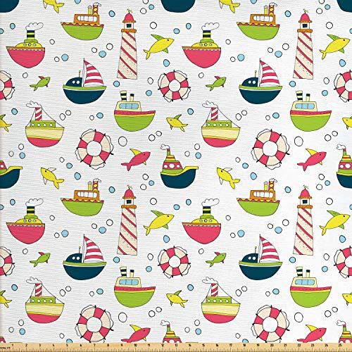 (Lunarable Nautical Fabric by The Yard, Sketch Sailing Ship Pattern with Colorful Boats Lighthouse Fishes and Sea Bubbles, Decorative Fabric for Upholstery and Home Accents,)