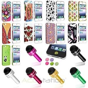 XMAS SALE!!! Hot new 2014 model Color Patterned Clip-on Plastic Cover Case+Dust Cap Pen+Sticker For iPhone 5 5SCHOOSE COLOR