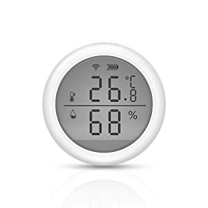 Smart Wireless Temperature & Humidity Sensor Compatible with Alexa Google Assistant, WiFi Smart Thermometer Hygrometer for Home Room