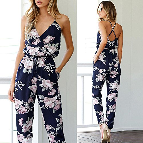 9f7be968 Elevin(TM)2017Women Backless Jumpsuit Sleeveless V-Neck Floral Printed  Playsuit Party Trousers
