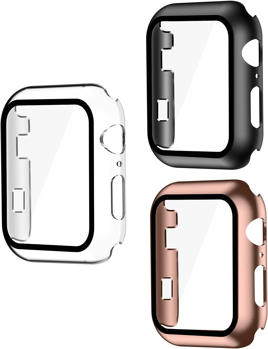 Smiling 3 Pack Case Compatible with Apple Watch Series 6/SE/Series 5/Series 4 38mm with Built in Tempered Glass Screen Protector- All Around Hard PC Case Overall Protective Cover(clear/black/rosegold)