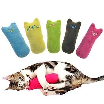 Myfei Juguetes para mascotas, almohada interactiva de gato para moler dientes, juguete de peluche