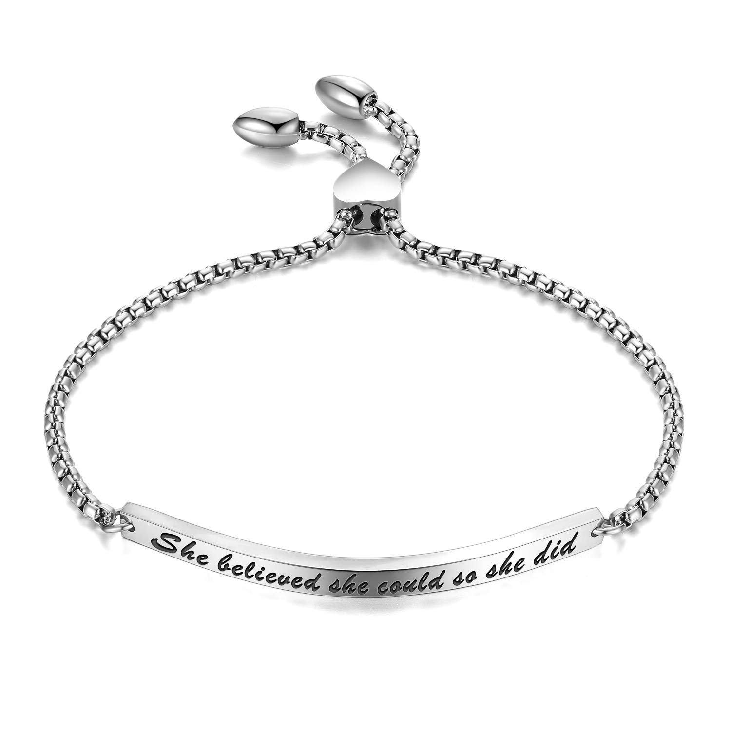GAGAFEEL Cuff Bangle Inspirational Jewelry She Believed she Could so she did Women Bar Bracelet Link Birthday Xmas Gift (Silver)