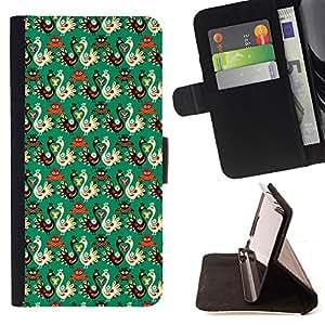 BullDog Case - FOR/HTC DESIRE 816 / - / wallpaper bird russian style pattern art /- Monedero de cuero de la PU Llevar cubierta de la caja con el ID Credit Card Slots Flip funda de cuer