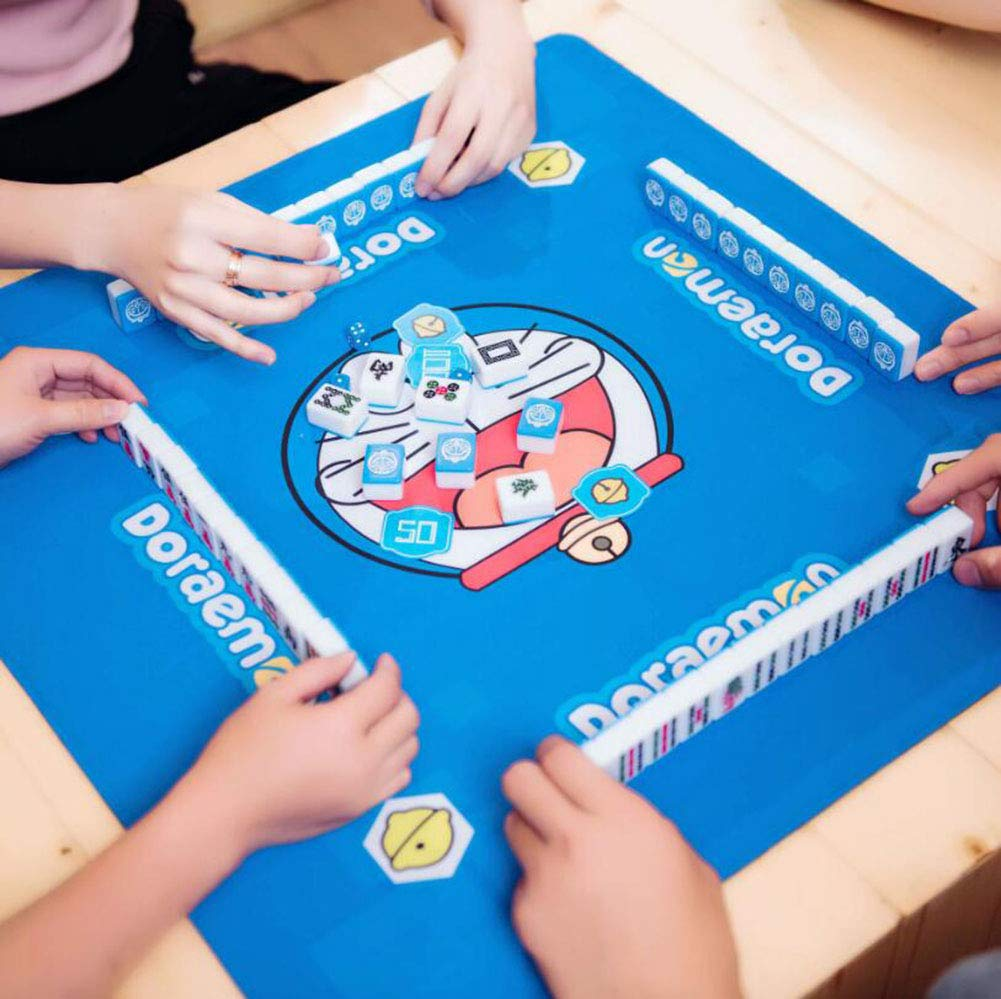 No. 01 BY Mah Jong Mahjong Jongg Majong Cartoon High Grade Lovely Handcuffs Doraemon Mahjong 144 Sheets Portable Family Travel Leisure Gift (301621mm)