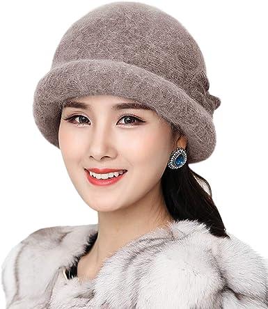 Femmes fourrure de lapin//laine Vintage Style Français laine Beret Beanie Hat Cap