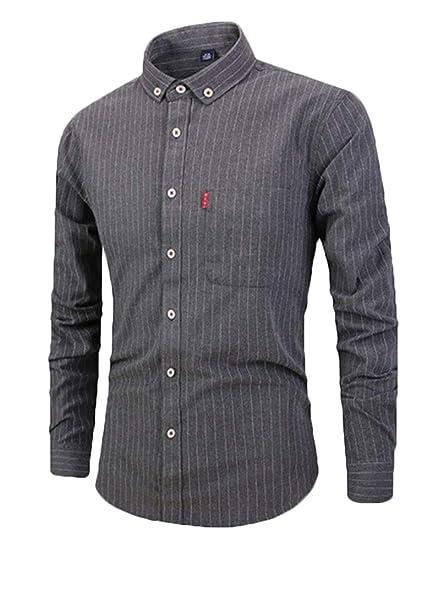 Generic Mens Long Sleeve Casual Slim Vertical Striped Button Down Dress Shirt