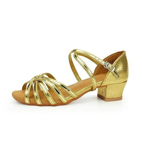 77ef280dd60 Wxmddn Zapatos de Baile Latino de Oro niñas Zapatos de Baile al Aire Libre  Ejercicio de