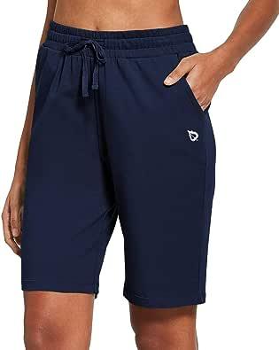 BALEAF Women's Active Yoga Lounge Bermuda Shorts with Pockets Navy Blue Size XL