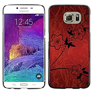 Stuss Case / Funda Carcasa protectora - Wallpaper Flowers Red Sketch Black Design - Samsung Galaxy S6 SM-G920
