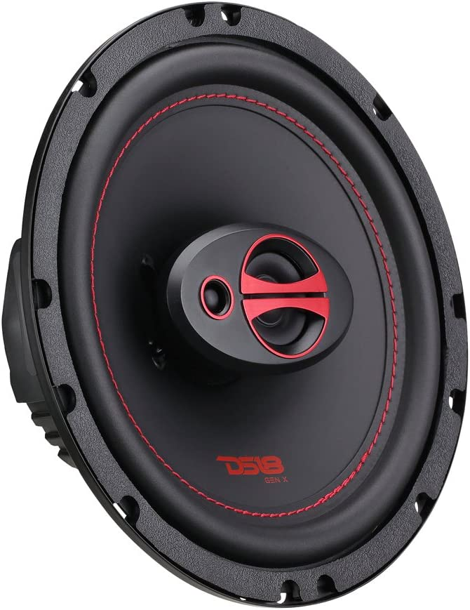 "DS18 GEN-X6.5 Coaxial Speaker - 6.5"", 3-Way, 165W Max, 50W RMS, Black Paper Cone, Two Mylar Dome Tweeters, 4 Ohms - Clarity Unparalled by Other Speakers in Their Class (2 Speakers)"