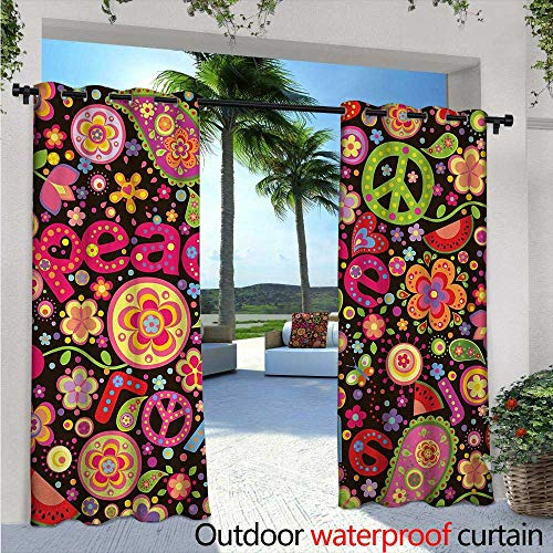 Groovy Outdoor Privacy Curtain for Pergola W72 x L108 Hippie Colorful Paisley Leaves Music Keys Typography Idealism Historic Revolution Thermal Insulated Water Repellent Drape for Balcony Multicolo (Bohemian Revolution)