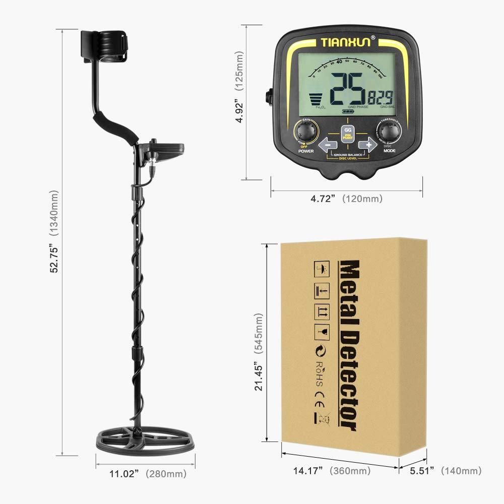 MIDOU Detector de Tesoros de Metal de Alta sensibilidad con Pantalla LCD, Profundidad DE 2, 5 m, Ajuste de Equilibrio de Suelo preestablecido con ...