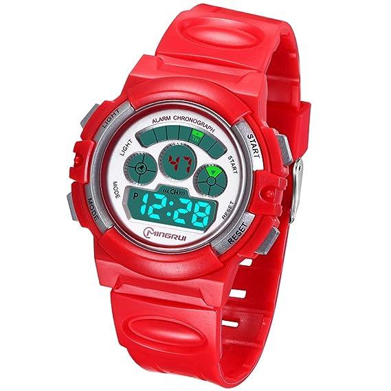 Reloj Digital Deportivo para Niños, Reloj de Pulsera Niña Multifunción con Pantalla LED Impermeable 30M para Niños, Niñas Reloj Infantil Aprendizaje ...