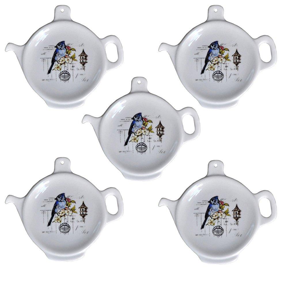 Set Of 2/5/10 Birds & Flowers Series Ceramic Teapot-Shaped Tea Bag Holder Tea Bag Coasters, Spoon Rests; Classic Tea Time Saucer Seasoning Dish Set blue 5pcs