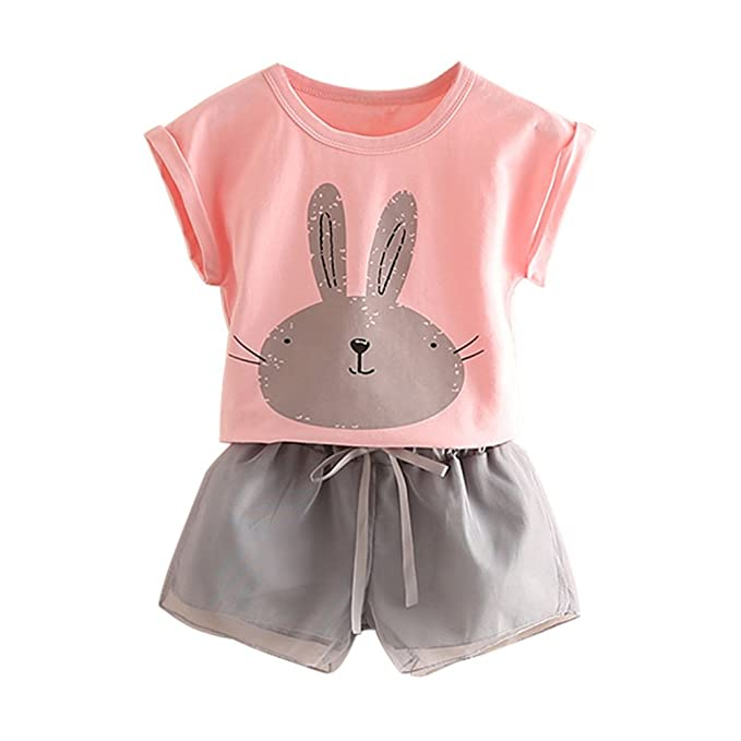 1eab5c1c9 Mud Kingdom Toddler Girls Outfits Bunny Cute Tops and Shorts 2T Pink