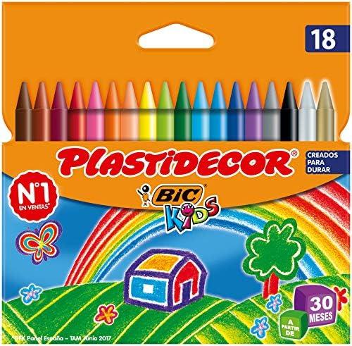 BIC Kids Plastidecor Ceras para Colorear, a partir de 30 meses – Colores Surtidos, Blíster de 18 Unidades: Amazon.es: Oficina y papelería