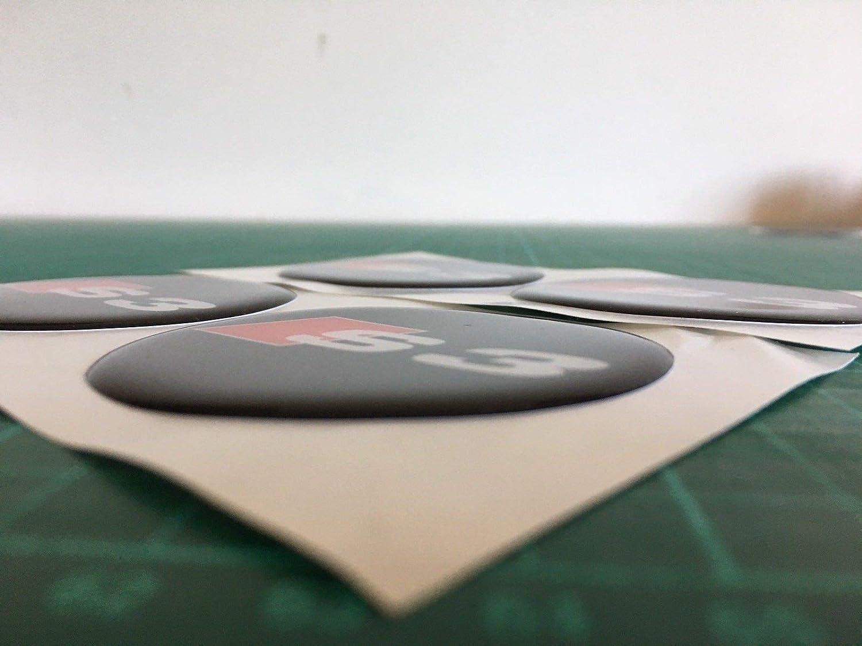 SCOOBY DESIGNS 4 Pegatinas para Centro de Llantas de aleaci/ón de Resina para Audi S3