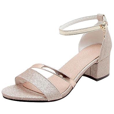 437df84d6fcb Artfaerie Women s Mid Heels Ankle Strap Glitter Court Shoes Open Toe  Sandals Block Heel Summer Pumps
