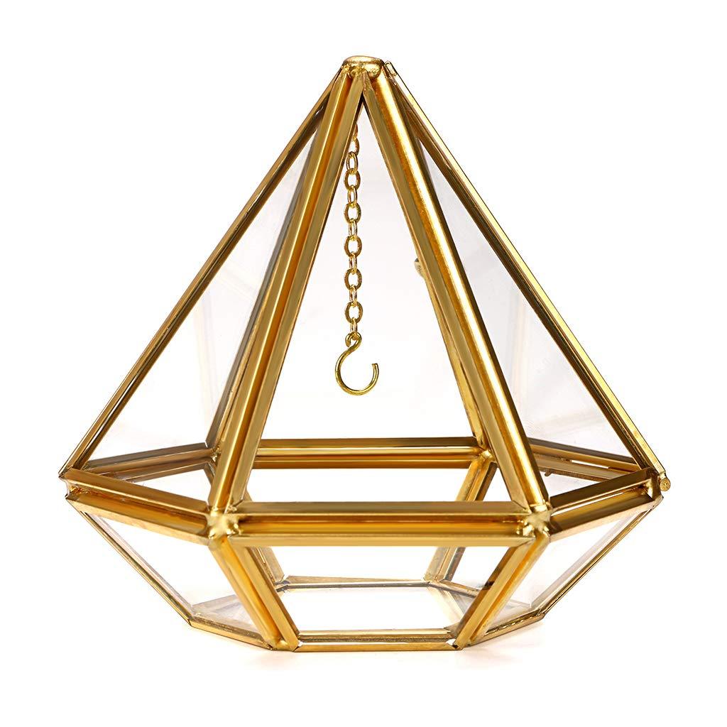 Geometric Glass Ring Organizer Golden Hanging Ring Stand Decorative Jewelry Ring Box Wedding Ring Bearer Gift Box Proposal Ring Display Case Hipiwe Cube Jewelry Ring Display Holder