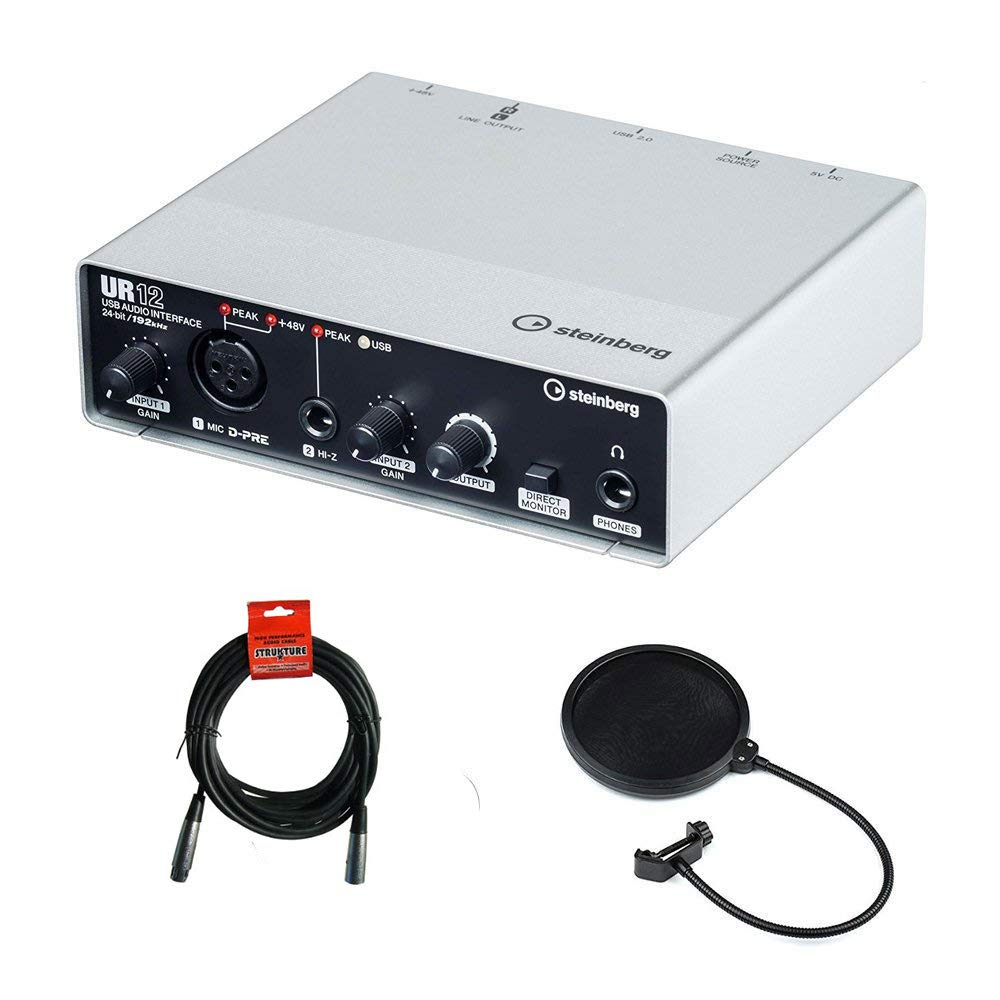 Steinberg UR12 - USB Audio Interface with XLR-XLR Cable & Pop Filter Bundle