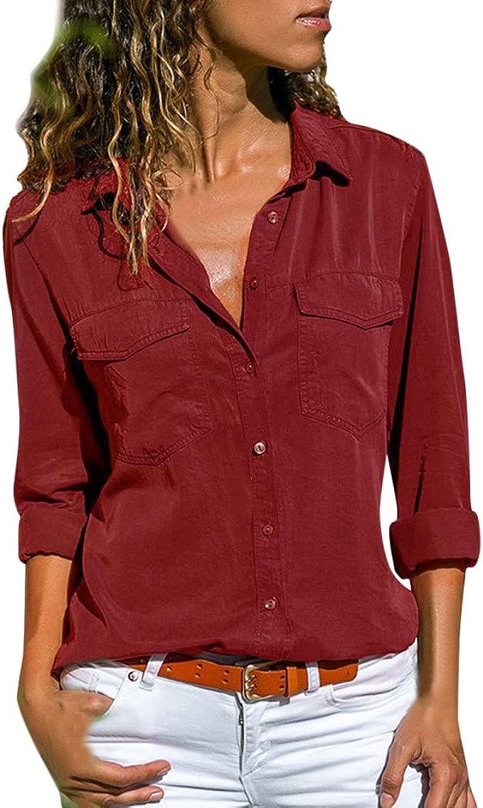 Ropa Camisetas Mujer, Bolsillos de Cuello Camisas Mujer Tallas ...