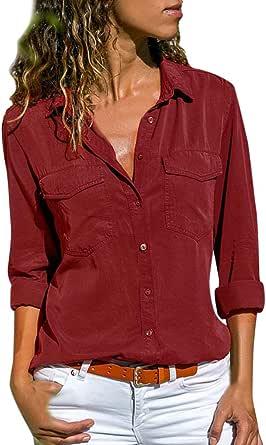 Ropa Camisetas Mujer, Bolsillos de Cuello Camisas Mujer ...