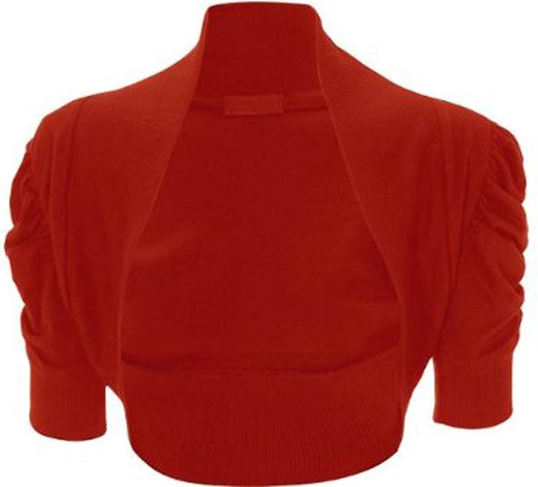 Girls Walk Womens Plain Short Ruched Sleeves Bolero Shrug Top