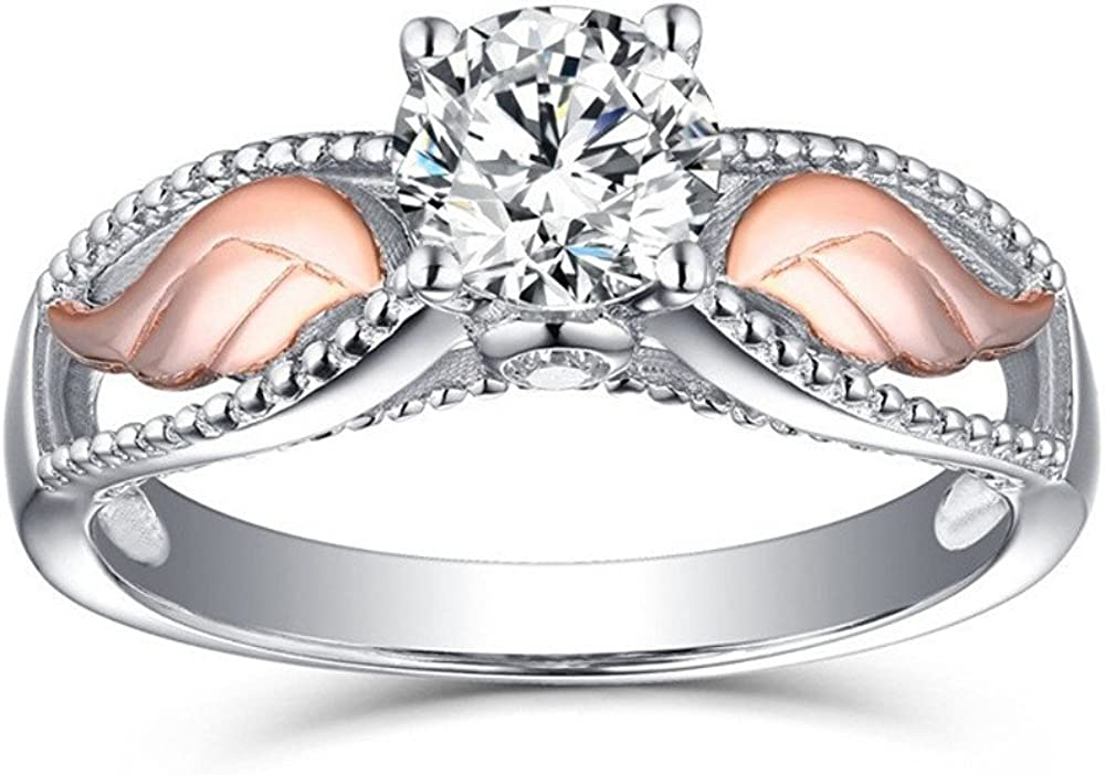 Drfoytg Fashion Angel Wings Colour Rose Rings for Women Teen Girls Gold Wing Ring Set