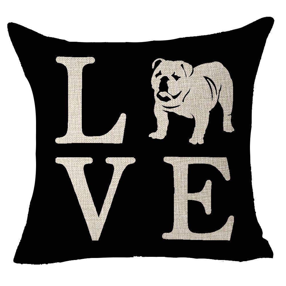 "FELENIW Cute Animal Pet Dog English Bulldog Love People Friend Throw Pillow Cover Cushion Case Cotton Linen Material Decorative 18"" Square (Bulldog)"