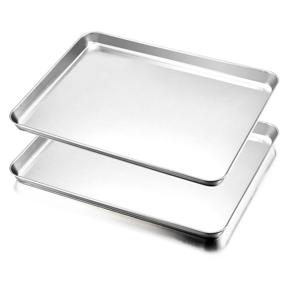Baking Tray Set of 2, HaWare Stainless Steel Baking Sheet - Rimmed Pan Baking - Healthy & Non Toxic, Easy Clean & Dishwasher Safe