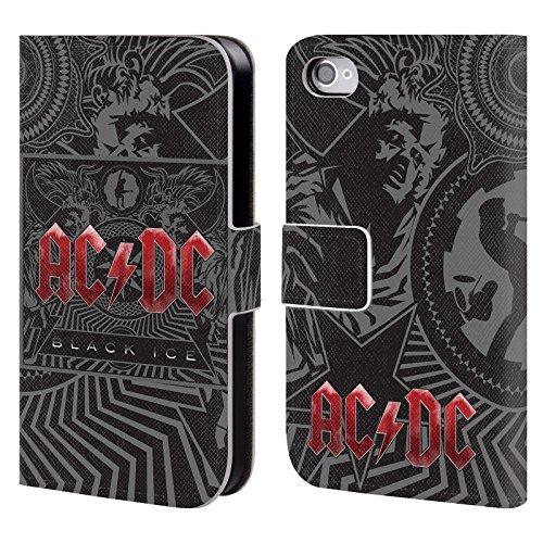Officiel AC/DC ACDC Verglas Art D'album Étui Coque De Livre En Cuir Pour Apple iPhone 4 / 4S