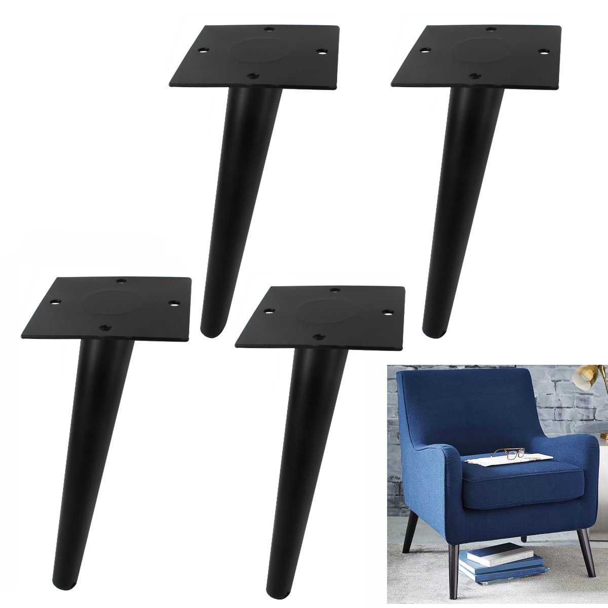 AORYVIC Coffee Table Legs Replacement 8 inches Metal Sofa Feet Couch Armchair Footstool Bed Bench Dresser Stand Legs Tapered Matt Black Pack of 4