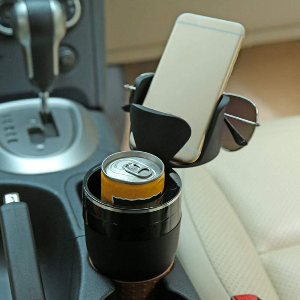 Politice Car Drink Cup Holder , 3 in 1 multifunktionaler Car Cup Holder , Aufbewahrungsbox Innenraum Aufbewahrungszubeh/ör Telefonhalter Sonnenbrille Organizer , 360 Grad einstellbar