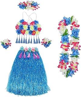 Amosfun Hawaiian Herbe Hula Jupes Ensembles Inclure Fleur Leis Collier Bandeau Bracelets Luau Jupes Soutien-Gorge pour Tropical Luau Fête d'anniversaire