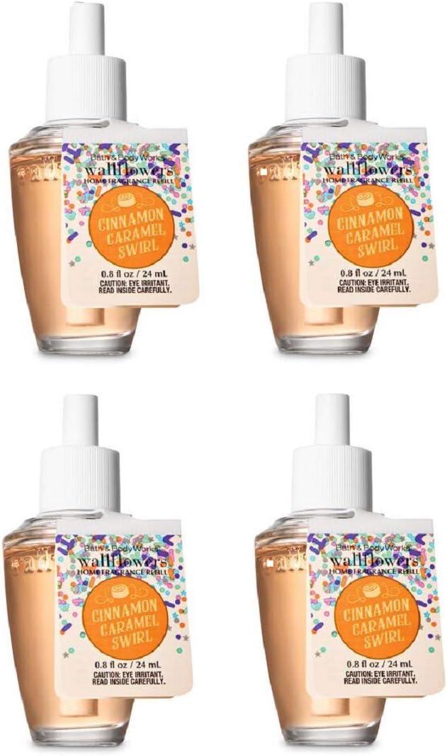Bath and Body Works Cinnamon Caramel Swirl Wallflowers Fragrances Refill. 0.8 Oz. 4 Set.